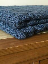 Crochet Afghan, Blanket, Throw Country Blue  size 56x36