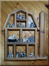 WOOD CURIO CABINET WALL HANGING SHELF MINIATURE DISPLAY FARM HOUSE SILO & COWS