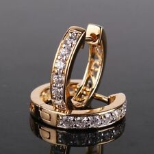 18ct Yellow Gold Filled Topaz Huggie Earrings Hoop Crystal White Sapphire ED