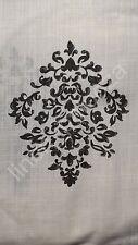 NEW TAHARI Black White Medallion Damask Window Curtain Panels 52x96 PAIR