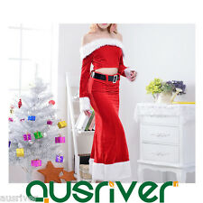 Women Christmas Costume Dress Skirt Boat Neck Santa Claus Cosplay Phillack SUT