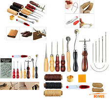 15 Punch Tools Kit Stitching Carving Working Sewing Saddle Groover Leather Craft