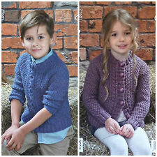 KNITTING PATTERN Childrens Round Neck Cable Jumper & Cable Cardigan Aran 3978