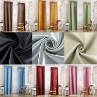 Blackout Pencil Pleat Curtains Heavy Solid Fabric Ready Made 2X Pair of Curtain