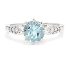 1.82 Carats Natural Aquamarine and Diamond 14K Solid White Gold Ring