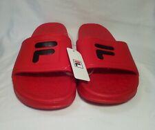 NEW FILA Sleek Slide Red/Black Sandals Slides Flip Flops Men's Sz-12