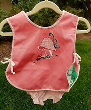 New listing Girls Pinafore Bloomers Set Dress 24 Mos Pink Gingham Mushroom Nwt Vintage 60s