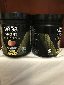 2 Pack VEGA Sport Energizer Series Strawberry Lemonade 11.3 Oz Powder EXP 7/2021