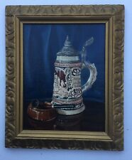 C L Young German Stein  And Pipe Framed Oil Painting