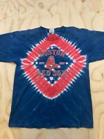 VTG LEE SPORT YOUTH SIZE XL RED BLUE TIE DYE MLB BOSTON RED SOX SHIRT MADE USA