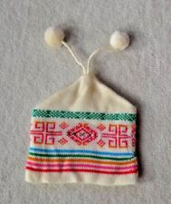 Winter Hat -Youth - Cream with Colored Decorations and 2 Tassels