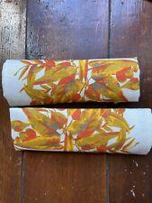 Two Large Vintage Linen Napkins Orange Floral Design 1950s 1960s