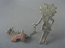 RARE! c.1940's Silver BETTY BOOP Walking Dog on Leash Brooch