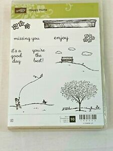 Stampin' Up! Stamps Happy Home Flying Kite Shelf Bench Tree Park Enjoy Miss You