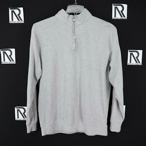Men Peter Millar Gray Pullover Sweat Shirt Golf Jacket Size Large 1/4 Zip Casual