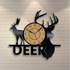 Vinyl Record Wall Clock Animal Deer Wall Watch Home Decor Clock Relogio Parede