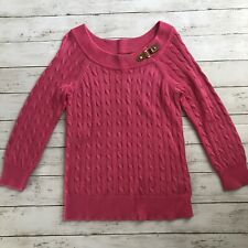 Ralph Lauren Polo Women's Size M Cable Knit Crewneck Sweater Pink
