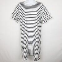 ADRIANNA PAPELL Womens Black White Stripe TShirt Dress Ruffle Sleeve Size Medium