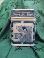 Chinese Tea Caddie Blue White China Girl With Fan Oblong Shape Vintage