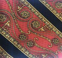Gianni Versace Italy Silk Men's Necktie Baroque Black Red Gold Scroll Checkered