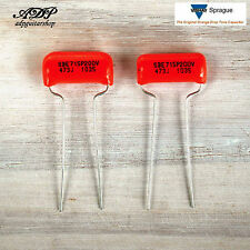 2 x CONDENSATEUR SPRAGUE USA ORANGE DROP Capacitor 47nF .047uF 200v 2 (DEUX)