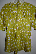 New AUTHENTIC KATE SPADE Sierra Silk Top Blouse With Belt Yellow/Green Size S
