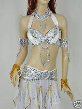 Belly Dance Costume Set Bra&Belt Top&scarf Silver White