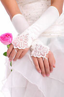 White/Ivory Satin Lace Bridal Wedding Gloves Forearm Length Fingerless -GL0016