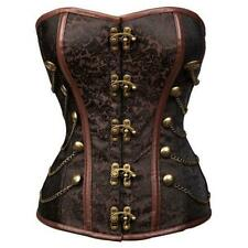 Women's Strapless Steampunk Overbust Brocade Corset with Chains XL