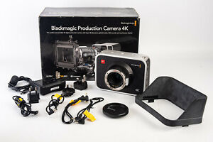 Blackmagic Production Camera 4k CINECAMPROD4KEF in Box with Hood & Cables V10