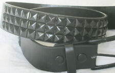 "Black Studded Belt- Punk Goth Metal New 3 row. 28-31"" waist"