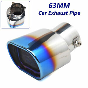 63MM Grilled Blue Stainless Steel Square Muffler Exhaust Tail Pipe Tip For Car