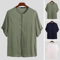 INCERUN Men Short Sleeve 100%Cotton T Shirt Button Down Beach Causal Holiday Top