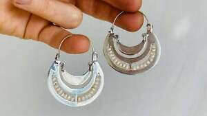 Oaxacan Earrings. Pearl & Silver. Frida Kahlo
