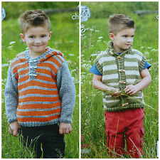 KNITTING PATTERN Boys Long Sleeve Striped Hoodie Jumper & Gilet Chunky KC 4383