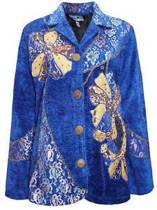 Ladies Blue Overlay Patchwork Embellished Velvet Jacket Size 16-22 LJOct13-1