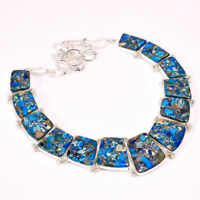 "Copper Blue Turquoise Gemstone Ethnic Style Jewelry Necklace 16-18"" N-11907"