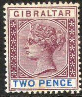 Gibraltar 1898 brown-purple/blue 2d crown CA perf 14 mint SG41