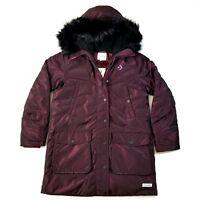 Converse Sideline Womens Down Parka Puffer Jacket SZ Winter Coat Purple Black