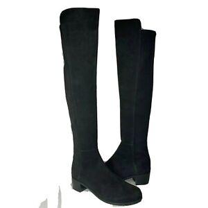 Stuart Weitzman women boots All Serve Black Suede Over-The-KneeOTK sz 7.5 new