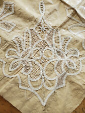 Antique Tape Lace Trim Hand done Sampler UNFINISHED needlelace cloth fabric
