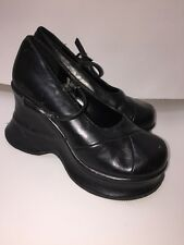 BAKERS Women's SIZE 7 B 37 Black Vintage VTG 90's Grunge Goth Mary Janes Heels