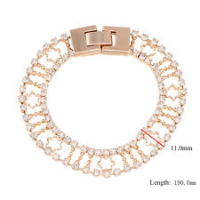 Womens Lucky Yellow Gold Plated Tennis Bracelet 2-Row Clear Cubic Zirconia