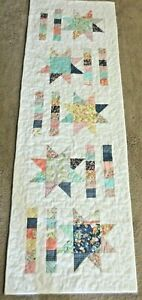 """Hand Made Quilted  Table Runner/Topper~18 """"x 55"""" ~ White,Blues,Yellow, Orange"""