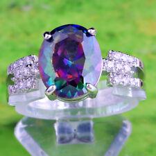 Women Oval Rainbow & White Topaz Gemstone 925 Silver Ring Size 7 Wedding Party