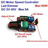 5A DC 3V~35V 12V 24V Motor Speed PWM Controller Adjustable Switch LED Fan Dimmer