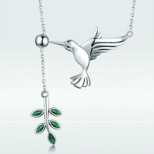 925 Sterling Silver Peace Dove with Olive Branch Pendant Necklace Jewelry Chain