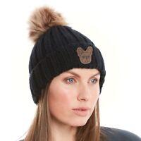 French Bulldog Gifts, Ribbed Faux Fur Pom Pom Hat. Black