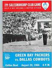 1966  DALLAS COWBOYS  VS GREEN BAY PACKERS  Football Program