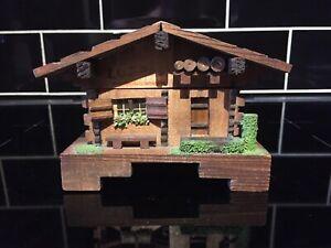 Vintage Frank Margot Switzerland Wooden Cabin Swiss Chalet Music Box Trinket Box